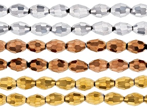 Metallic Glass Faceted Barrel appx 8x6mm Shape Bead Strand in 3 Colors appx 22-24""