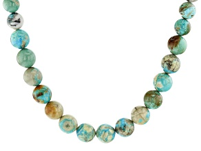 Arkansas Turquoise & Turquoise in Matrix Graduated Round appx 10-14mm Bead Strand appx 14