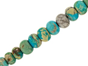 Arkansas Turquoise & Turquoise in Matrix Graduated Rondelle appx 12-14mm Bead Strand appx 13-14