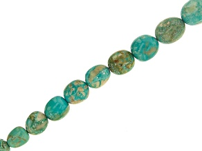 Arkansas Turquoise Graduated Tumbled Nuggets appx 4.5x3.5-12x10mm Bead Strand appx 14