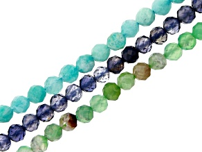 Iolite, Amazonite & Chrysoprase Faceted Round appx 3mm Bead Strand Set of 3 appx 15-16""