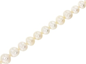 White Cultured Freshwater Pearl Graduated Roundish appx 4-11mm Bead Strand appx 14-15""
