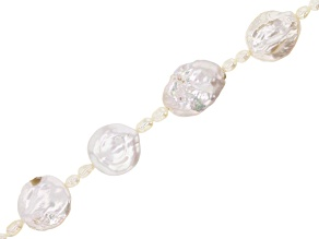 """White Cultured Freshwater Pearl Coin appx 14-15mm Shape & Rice appx 3mm Bead Strand appx 15-16"""""""