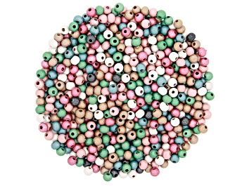 Picture of Pearlesque Wood Beads Round appx 6mm in Assorted Colors 1,500 Pieces Total