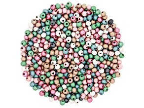Pearlesque Wood Beads Round appx 6mm in Assorted Colors 1,500 Pieces Total