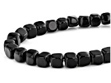 Black Agate Cube appx 7x7mm Shape Bead Strand appx 15-16""