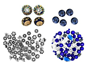 Royal Blue Glass & Metal Spacer Bead Kit in Assorted Styles 137 Pieces Total
