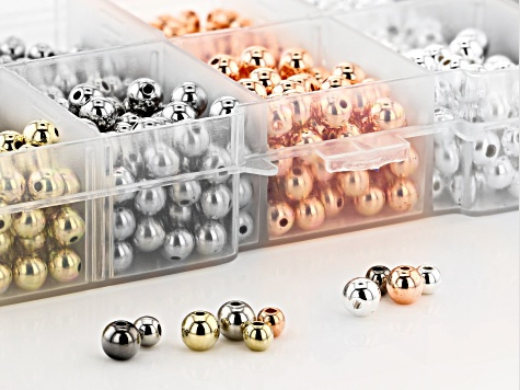Electroplate Multi-Color Round Bead in 2 Sizes & 5 Colors 1,500 Pieces Total