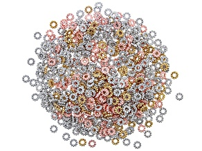 Rondelle Daisy Spacer Bead Kit in Silver Tone, Gold Tone, and Rose Gold Tone Appx 1000 Pieces Total
