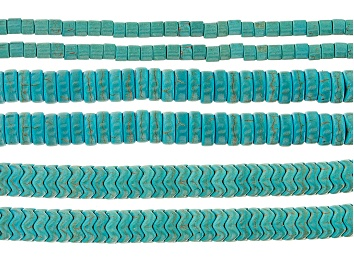 Picture of Turquoise Simulant Bead Strand Set of 6 in Assorted Shapes appx 15-16""
