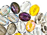 Multi-Color Faceted Glass Oval appx 12x9mm Shape Beads 50 Pieces Total