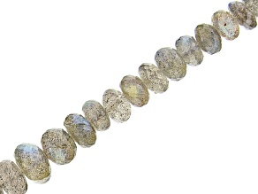 "Labradorite Graduated Faceted Rondelle appx 6-10mm Bead Strand appx 14-15"" with Lobster Clasp"