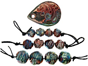 Raku Ceramic Flourish Design Focal Drop Shape & Turquoise Color Free-Form Beads Set of 12