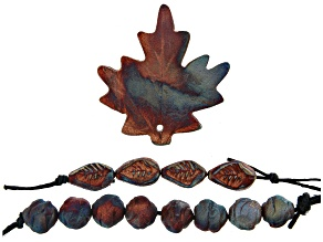 Raku Ceramic Leaf Design Focal and Free-Form Beads Set of 12