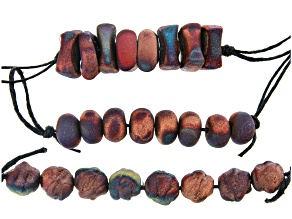 Raku Ceramic Matte Rust Free-Form Bead Strand Set of 3 in 3 Styles