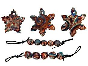 Raku Ceramic Star & Snowflake Design Focals and Free-Form Beads Set of 10