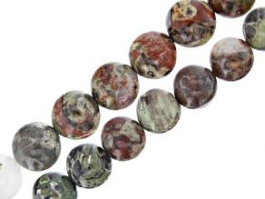 "Multi-Color Agate & Feldspar in Matrix Stone Round appx 14-16mm Bead Strand Set of 2 appx 15-16"""