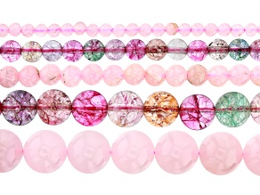Rose Quartz & Multi-Color Quench Crackled Quartz Round Bead Strand Set of 5 appx 15-16""