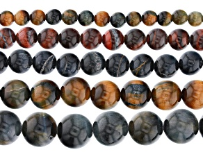 """Multi-Color Tigers Eye Round Bead Strand Set of 5 appx 15-16"""""""