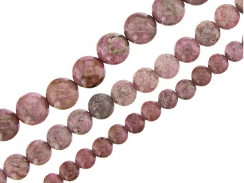 "Picture of Rhodonite & Rhodonite in Quartz Matrix Round Bead Strand Set of 3 appx 15-16"""