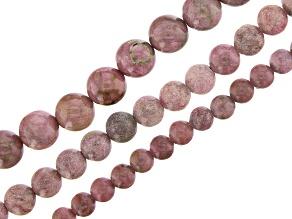 "Rhodonite & Rhodonite in Quartz Matrix Round Bead Strand Set of 3 appx 15-16"""