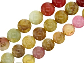 Multi-Color Serpentine Round appx 10-12mm Bead Strand Set of 3 appx 15-16""
