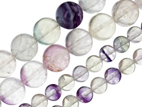 Multi-Color Fluorite Round Bead Strand Set of 4 appx 15-16""