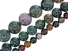 """Fancy Agate and Jasper Mix Round Bead Strand Set of 3 appx 15-16"""""""