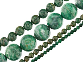 Fuchsite in Quartz and Green Stone Mix Round Bead Strand Set of 4 appx 15-16""