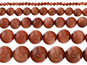 """Goldstone Glass Round appx 2-12mm Bead Strand Set of 5 appx 15-16"""""""