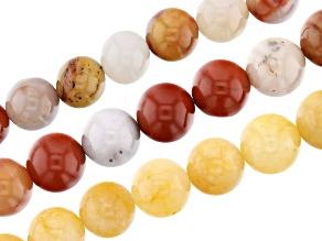 "Rainbow Agate & Yellow Quartzite Round Bead Strand Set of 3 appx 15-16"""