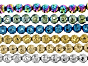 Hematine Faceted Round appx 8mm Bead Strand Set of 6 in Assorted Colors appx 15-16""