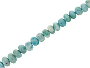 "Larimar Graduated Rondelle appx 6-9mm Bead Strand appx 15-16"" with Lobster Clasp"