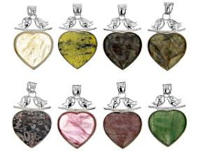 Multi-Stone Focal Heart Pendant appx 43x33mm with Bail appx 10x7mm in Silver Tone Set of 8