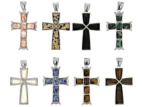 Multi-Stone Cross Focal Pendants with Bails in Silver Tone Set of 8 in 2 Styles