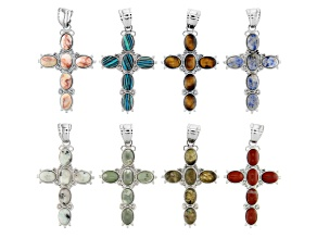Multi-Stone Cross Focal Pendants in Silver Tone with Bails Set of 8