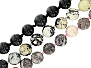 "Multi-Stone appx 8mm Round Endless Hand Knotted Bead Strand Set of 3 appx 32"" in length"