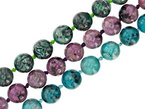 Multi-Color Mixed Stone appx 8mm Round Endless Hand-Knotted Bead Strand Set of 3 appx 32""