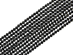 """Black Spinel Faceted appx 2-2.25mm Round Bead Strand Set of 10 appx 15-16"""""""