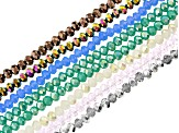 Chinese Crystal Glass Faceted appx 4mm Rondelle Bead Strand Set of 8 in Assorted Colors appx 15-16""