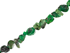 Bahia Brazilian Emerald in Matrix Free Form Nugget Endless Bead Strand appx 24""