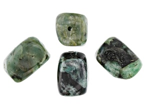 Bahia Brazilian Emerald in Matrix Polished Nugget appx 16x11mm Focal Bead Set of 4 appx 80-95 CTW