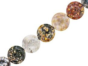 "Madagascar Ocean Jasper Coin appx 18x5mm Bead Strand appx 15-16"""