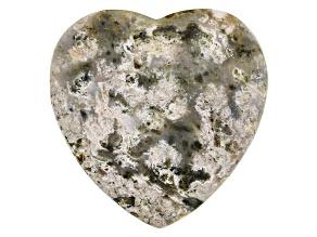 Madagascar Ocean Jasper Large Hole Heart appx 30x12mm Shape Focal Bead appx 68-75 CTW