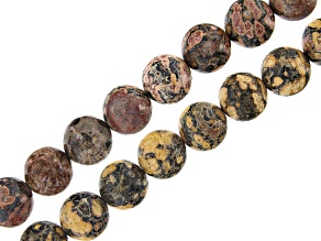 Rhyolite Round appx 12mm Bead Strand Set of 2 appx 15-16""