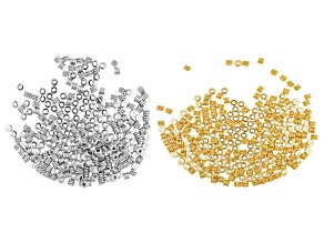 Metal Drum Shape Spacer Beads appx 4x3mm in Silver Tone and Gold Tone appx 500 Pieces Total