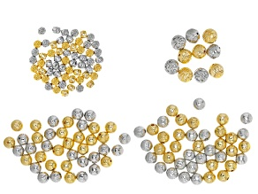 Metal Spacer Beads in 4 Styles in Gold Tone & Silver Tone appx 150 Pieces Total