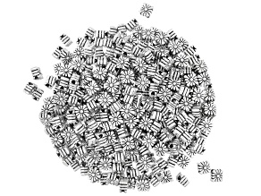 Metal Starburst Diamond Shape Large Hole Spacer Beads in Antique Silver Tone 300 Pieces Total