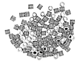 Metal Lantern appx 6x5mm Shape Large Hole Spacer Bead in Antique Silver Tone 100 Pieces Total