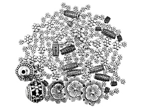 Spring Garden Inspired Spacer Beads in 6 Designs in Antiqued Silver Tone Appx 158 Pieces